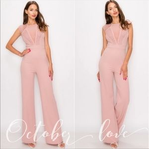 SUDUCTIVE Light Pink Jumpsuit With Lace